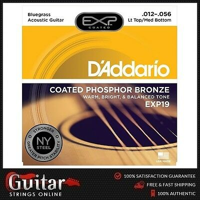 D'Addario EXP19 Coated Phosphor Bronze Acoustic Guitar Strings 12-56 Daddario