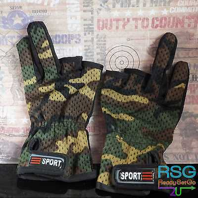 Gloves Camo 2 PAIR  Anti Slip 3 Cut Finger Shooting fishing Outdoor paintball
