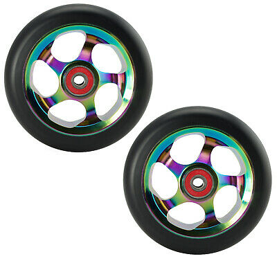 Metal Core 100mm Rocket Fuel NeoChrome Oil Slick Scooter Wheels with Bearings