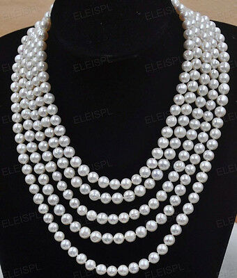 100 inch 8mm white real freshwater pearl necklace endless free shipping