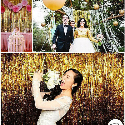 3'x8' Metallic Shimmer Tinsel Foil Fringe Window Curtain Wedding Party Decor VW