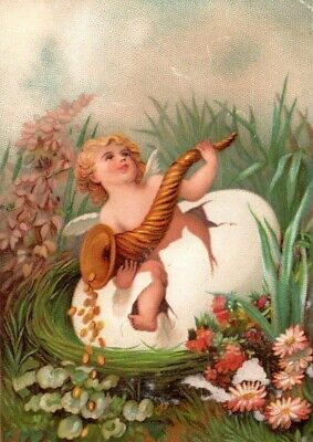 1870s-80s Cherub Coming Out of Egg Holding Horn Victorian Trade Card F18