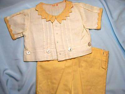 Antique BABY 2PC Outfit PALE YELLOW TOP/SHORTS HAND EMBROIDERED VINTAGE Ex Cond!