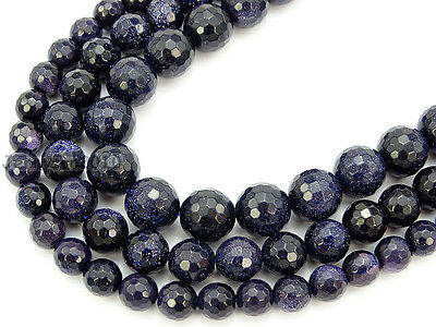 Natural Blue Sand Gemstone Faceted Round Loose Beads 15.5'' 8mm 10mm 12mm