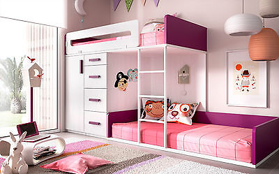 premium kinderzimmer mit hochbett schubkasten. Black Bedroom Furniture Sets. Home Design Ideas