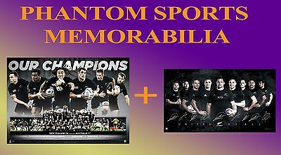 World Cup New Zealand All Blacks 2015 Champions Print Framed Facsimile Signed