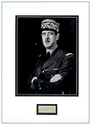 Charles de Gaulle Autograph Signed Display UACC RD AFTAL