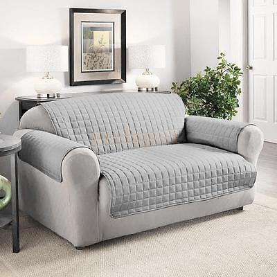 Furniture Protector Pets Slipcover 2-Seat Quilted Sofa Couch Cover Lightgray