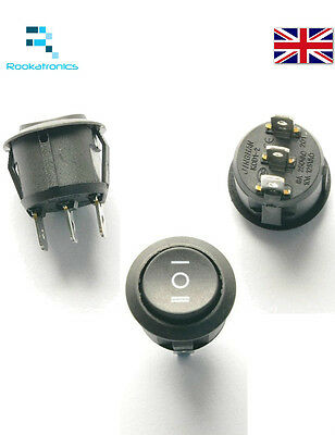 New 20mm Diameter Small Round Rocker Switch Black 3 Pin ON-OFF ON - Free Postage