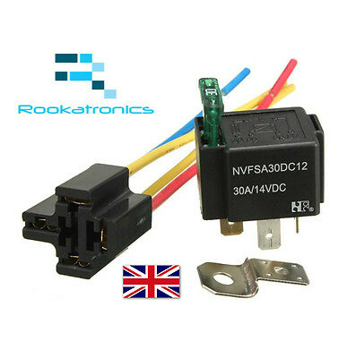 12V Relay 4 pin with Socket Base/Wires/fuse Included 30Amp SPST High Quality