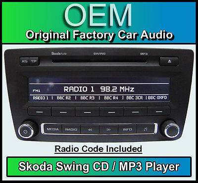 Skoda Swing CD MP3 player, Octavia car stereo headunit, Supplied with radio code