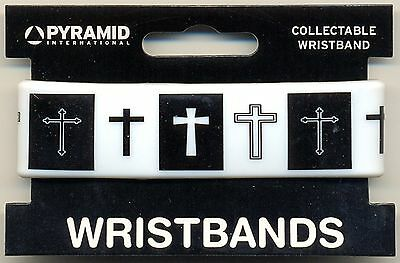Cross Black/White Rubber Wristband Carded One Size