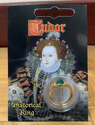 Tudor Gold Plated Gem Ring - Fancy Dress Ladies Decorative Vintage