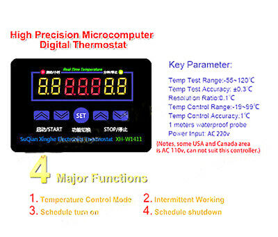 LED Digital AC 220v Electronic Thermostat Temperature Meter Controller switch