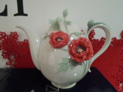 Rare Franz Porcelain Collection Poppy Teapot Fz00524 New Boxed Retired
