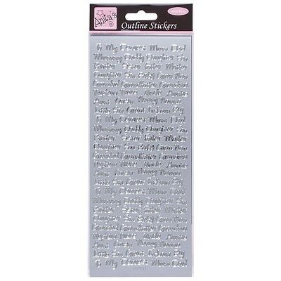 Anita's Peel Offs Silver Outline Family Relatives Names | Mum Dad Stickers| B63