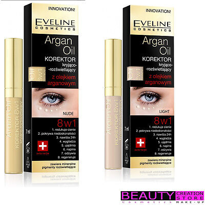 EVELINE Argan Oil Corrector 8in1/ Illuminating 7ml CHOOSE SHADE EV020