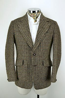 "Vintage 1970's HARRIS TWEED JACKET 38"" Regular Brown Blue Check by Hodges"