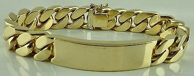 Heavy solid gold 3 ounce / 94.2 gram. Gents 8 inch ID Bracelet