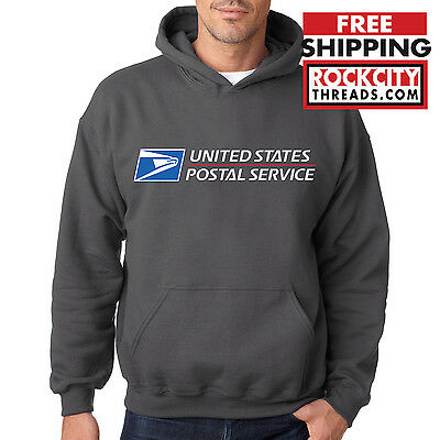 USPS POSTAL CHARCOAL HOODIE Hooded Sweatshirt Logo Chest United States Service