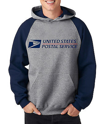 USPS POSTAL RAGLAN HOODIE Hooded Sweatshirt Logo Chest United States Service US