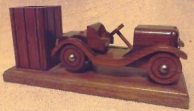 Vintage Woodware--Hand Carved Wood Antique Car-Desk Caddy--Nice--Great Patina