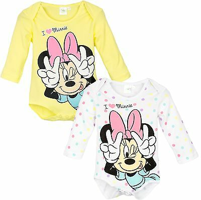 Official Disney Minnie Mouse Baby Girls Bodysuit Babygrow Romper Long Sleeve New