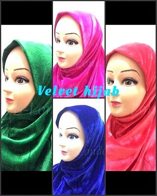 New Muslim Ladies Children Kids Pull On Readymade Hijab Wrap Velvet Hijab Scarf