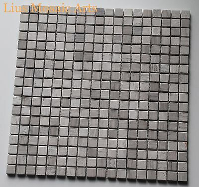 """Grey Wood 1.5"" Marble mosaic tile for interior walls + floors"