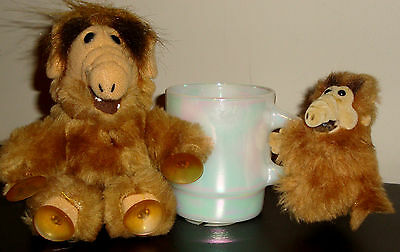 HTF - Lot of 2 Vintage ALF 80s Plush Doll Clip Suction Cup Alien Toy 7in & 3in