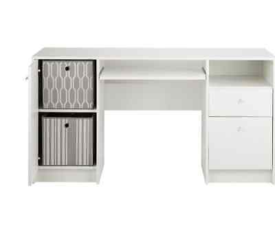 White Double Pedestal Desk with Filer Home Bedroom Study Table With 2 Drawers