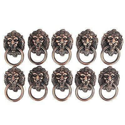 uxcell Dresser Drawer Cabinet Door Ring Lion Head Pull Handle Knob 10pcs