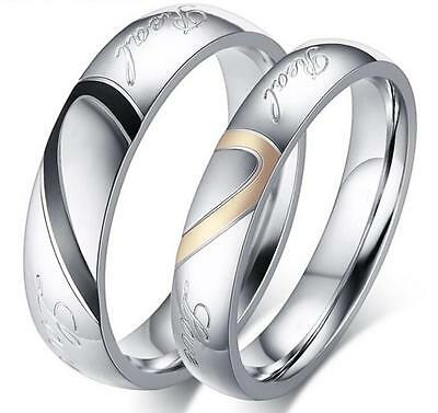 Stainless Steel 316L Silver Love Heart Promise Ring Couple Wedding Band