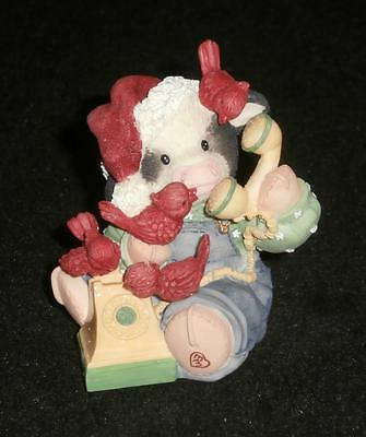 Mary Moo Moos Enesco 1998 Called To Wish You A Mooey Christmas Figurine 371475