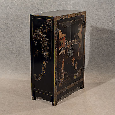 Antique Side Cabinet Cupboard Oriental Asian Mid-20th-Century