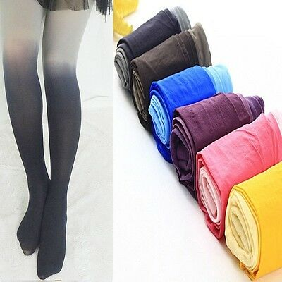 Women's Fading Gradient Stretch Tights Ombre Colored Watercolor Velvet Stockings