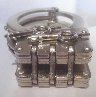 Handcuffs Real  Lock double Hinged Police Hand Cuffs 2 Keys+pouch + locking pins