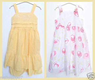 Girls Summer Party White Pink Flower Netting Yellow Sleeveless Dress Age 11