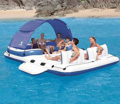 Floating Water Island Inflatable Party Dock Tube 6 Person Pool Beach Lake Shade
