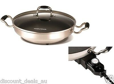 Electric Wok Cooking Hot Pot 30cm Pan Non Stick Stainless Steel Temp Settings
