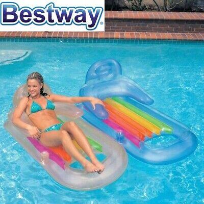 Floating Pool Lounge w/ Drink Holder Float Inflatable Beach Lounger Lake Raft