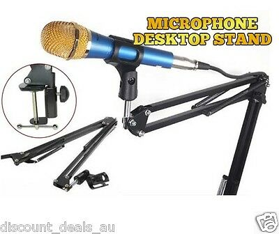 Microphone Stand Clip Music Audio Voice Recording Clip On Desk Bench Adjustable