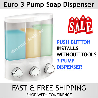 White Soap Dispenser Liquid Shower Gel Shampoo Caddy Wall Mounted Bathroom NEW