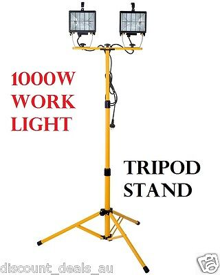 1000w Work Light with Stand Tripod Garage Maintenance Weather Resistant Outdoor