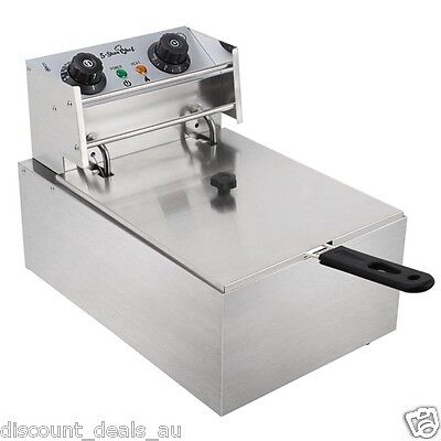 Commercial Electric Deep Fryer Single Basket S/S Chips Fries Cooker 5 Star Chef