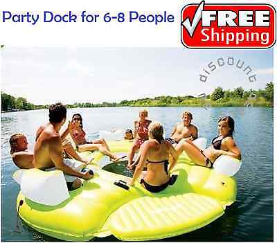 Floating Island Party Dock Inflatable Water Tube 8 Person Pool Lake Fun Boat NEW