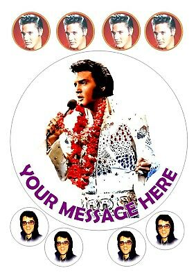 """Elvis Presley  Birthday Cake  Round Edible Iced Icing 7.5"""" + 8 Cupcake Toppers"""
