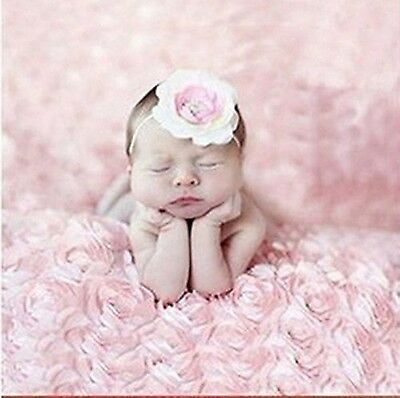 Newborn Baby Photography Props Rose Flower Backdrop Blanket Rug (Pink) Pink