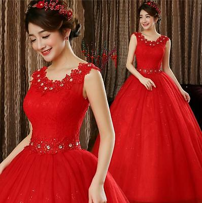 Red Lace Deco. Slim Fit Princess Bridal Wedding Dresses Bride Weding Ball Gowns