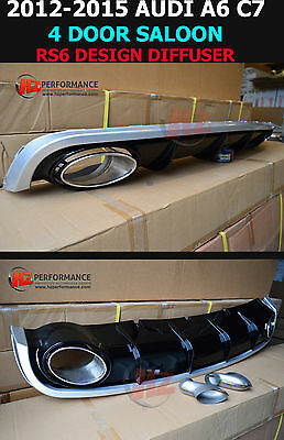 New Audi A6 2011-2015 C7 4Dr Saloon To Rs6 Rear Diffuser With Exhaust Tips